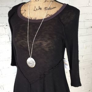 Free People top. Black. NWT size S. 3/4 sleeves